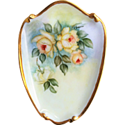 "SALE Attractive Bavaria 1960's Hand Painted ""Yellow Roses"" 8-1/2"" Floral Plaque"