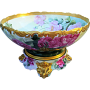 """SALE Spectacular & Magnificent T & V Limoges France 1900's Hand Painted """"Red, Pink, & Yel"""
