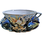 """SALE Scarce & Beautiful RS Prussia 1900's """"Water Lily"""" Cobalt Blue Mustache Cup & Sa"""