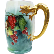 """SALE Gorgeous Limoges France 1900's Hand Painted """"Red Currant"""" Dragon Handle Tankard"""