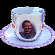SALE Outstanding Germany Portrait Mustache Cup & Saucer of German Emperor Kaiser Wilhelm II