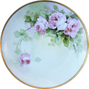 "SALE Beautful Sevres Bavaria 1900's Hand Painted ""Pink Roses"" 9"" Floral Plate"