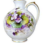 """SALE Beautiful Welsley China 1930's Hand Painted """"Violets"""" Floral Ewer by the Respec"""