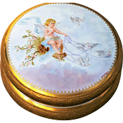 "SALE Spectacular Limoges France 1900's Hand Painted ""Cherub Driving A Chariot of Doves"""