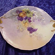 "Gorgeous Vintage 1900 D & C France Limoges Hand Painted ""Purple Grapes"" 10-3/4"""