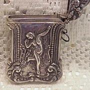 SALE Vintage 1900 Sterling Silver Match Safe Vesta W/Full Figure Nude Nouveau Lady