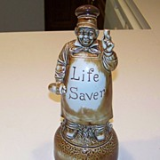 "Rare 1900's Schafer & Vater ""Life Saver"" 11-3/8"" Decanter Music Box"