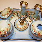 "SOLD Attractive 1900's Austria Hand Painted ""Petite Yellow Roses"" 10 Pc. Matched Dre"