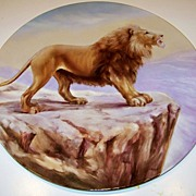 "SOLD Rare J.P.L. France 1900's Hand Painted ""Lion"" On Cliff 15-3/4"" Plaque by P"