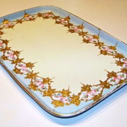 """Vintage 1900 Limoges Hand Painted """"Petite Pink Roses"""" 11-7/8"""" Tray by Artist, """""""