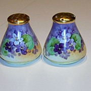 "Vintage 1900's Bavaria Hand Painted ""Deep Violets"" 2-1/2"" Salt & Pepper Shaker"