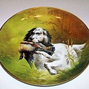 "Outstanding Limoges & Julius Brauer Studio of Chicago 1900's Hand Painted ""Hunting Dog"""
