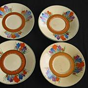 Clarice Cliff Crocus Athens Teacups and Saucers