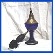 Czech Cobalt /Gilt Intaglio Perfume Atomizer
