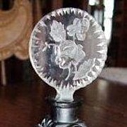 Czech Ingrid Black Opaque Deco Lady Rose Stopper Perfume Bottle