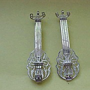 """""""Two Guitars"""" - two Sterlilng Silver Guitar Brooches - Sold Together"""