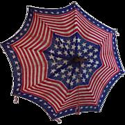 SOLD Antique American Flag Patriotic Parasol Umbrella