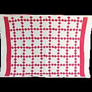 Vintage Red and White Irish Chain Crib Quilt