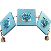 SOLD Turquoise Dyed Howlet and Reconstituted Turquoise Roses on 14KGF Bracelet