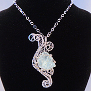 SALE Raw Aquamarine on Sterling Silver Pendant Necklace
