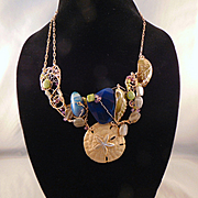 14KGF Sculpted Bejeweled Necklace