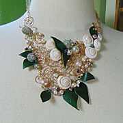 14KGF Sculpted Bib Style Necklace w Shell and Leather