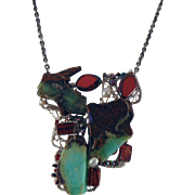 Abstract Wearable Art Necklace with Chrysoprase, Hematite and Czech Glass