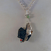 Sterling Silver and Agate Abstract Pendant Necklace