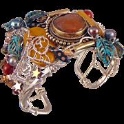 Large Cuff Mixed Metal Bracelet w Agate and Jasper