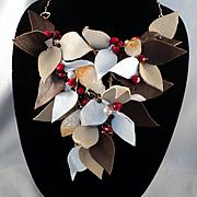Leather w Swarovski Pearls, Red Jade and Garnets on Jeweler's Brass Bib Necklace