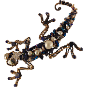 Lizard Pin of Annealed Steel and 14KGF w Lapis Lazuli, Hematite, Cultured Freshwater Pearls an