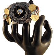 Mixed Metal Cuff Bracelet w Czech Glass Crystals and Beads