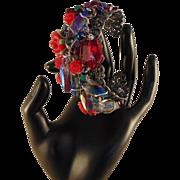 SALE PENDING Sculpted Sterling Silver on Pierced Steel Cuff Bracelet: