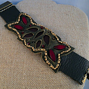 Red Czech Glass and Leather Bracelet