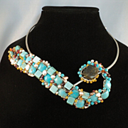 Abstract Turquoise and Sterling Silver Snake Choker