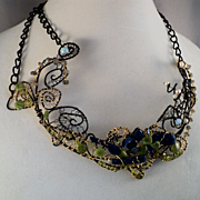 Annealed Steel and 14KGF Necklace Bejeweled