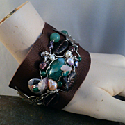 Leather Bracelet w Malachite and Vintage Mexican Silver