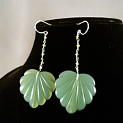 Vintage Lucite and Peridot on Sterling Silver Earrings