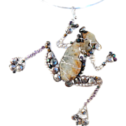 SOLD Big Frog Pendant of Prasiolite, Hematite and CFWP on Sterling Silver Necklace