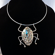 Sterling Silver Abalone Beetle Pendent on Choker