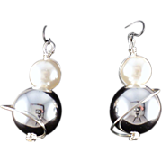 SOLD Silver Plate and Large Faux Pearl on Sterling Silver Earrings