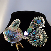Fish Pin of Abalone w Swarovski and Czech Glass on Sterling Silver and Aluminum
