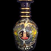 Hand Painted Cobalt Blue Glass Vase urn Portrait , flowers, scrolls