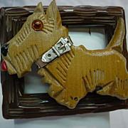 SOLD Assembled Vintage Bakelite Carved Wood Scotty Terrier Dog Pin