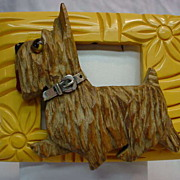 Assembled Vintage Bakelite Carved Wood Dog Pin