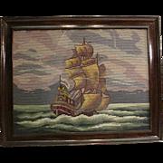 Vintage Original Wood Frame Ocean Ship Needlepoint
