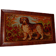 Framed Antique St. Bernard Dog Textile Poppy  Flowers