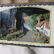REDUCED Antique Hand Made Victorian Village Scene Diorama Shadow Box Frame