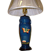 Antique Torquay Re-Purposed Butterfly Vase Lamp with Shade