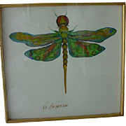 Four Original Signed N.L. Broderson Water Color of Insects